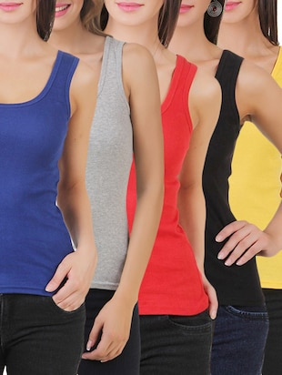 multi colored cotton tank tee set of 5