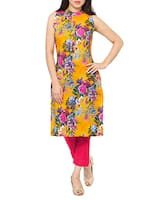 Yellow faux crepe kurti -  online shopping for kurtis