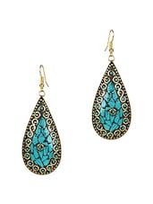 Blue Brass Inlay  Earrings - Stylisda