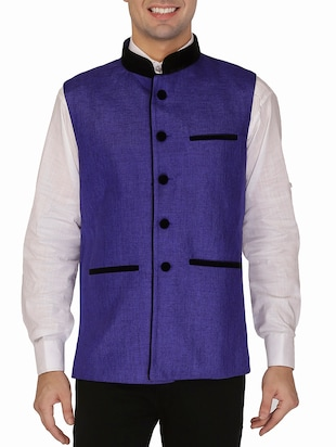 dark blue khaadi nehru jacket