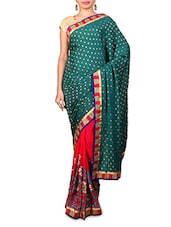 Green Embroidered Jacquard Georgette Saree - Kabira Fashion