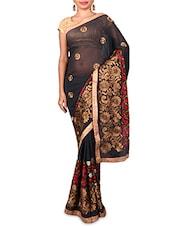 Black Embroidered Chiffon Saree - Kabira Fashion