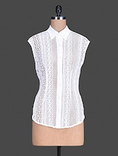 Sleeveless White Lace Shirt - S9 WOMEN