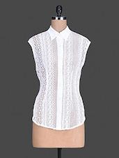 Sleeveless White Lace Shirt - S9 WOMEN