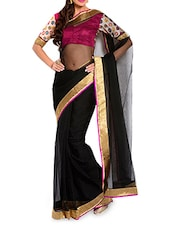 Black Cotton Saree With Contrasting Blouse Piece - Moiaa