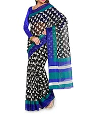 Black And White Geometric Printed Cotton Saree - Moiaa