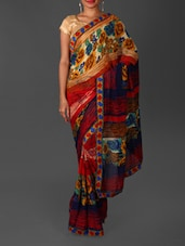 Floral Print Jacquard Border Weightless Georgette Saree - By