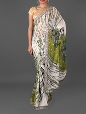 Jacquard Border Floral & Paisley Print Weightless Georgette Saree - Jmilan