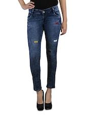 Dark Blue Denim Slim Fit Jeans With Patch Work - By