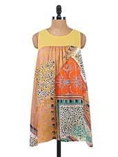 Light Brown Printed High-Low Chiffon Dress - Collezioni Moda