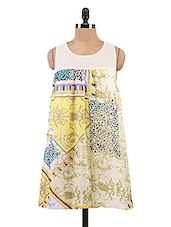 White Printed High-Low Chiffon Dress - Collezioni Moda