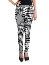 Monochrome Abstract Printed Cotton Pants - By