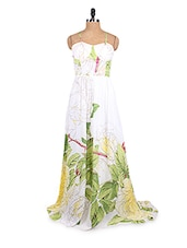 White Floral Printed Chiffon Maxi Dress - Collezioni Moda