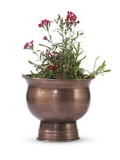 Brown Iron And  Copper Planter - Papallona Designs