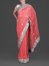 Peach Gota-patti Embroidered Georgette Saree - By