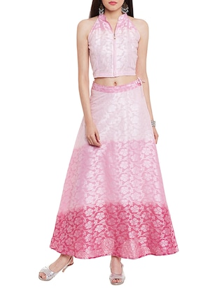 pink jacquard cotton crop top and maxi skirt set