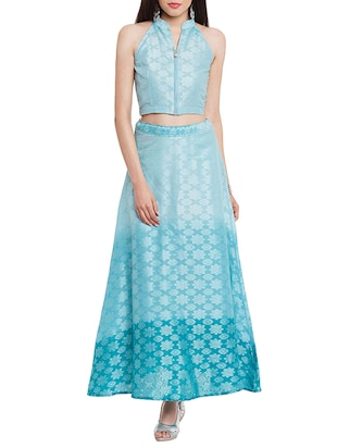 blue jacquard cotton crop top and maxi skirt set