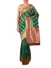 Green Jacquard Cotton Silk Saree - By
