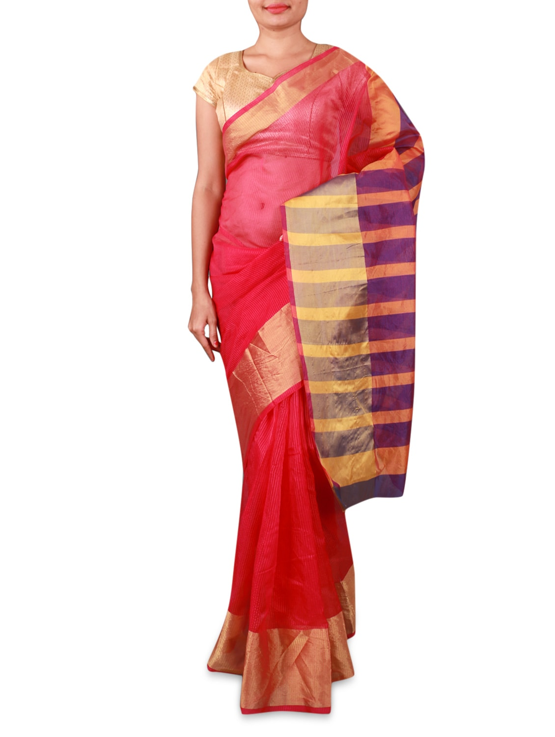 Red Cotton Silk Saree With Striped Aanchal - By