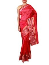 Pink Cotton Silk Saree With Striped Border - INDI WARDROBE