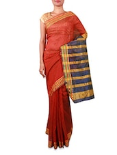 Rust Cotton Silk Saree With Striped Aanchal - INDI WARDROBE