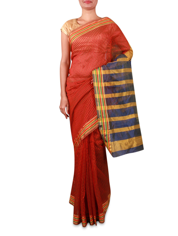 Rust Cotton Silk Saree With Striped Aanchal - INDI WARDROBE