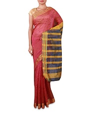 Pink Cotton Silk Saree With Striped Aanchal - INDI WARDROBE