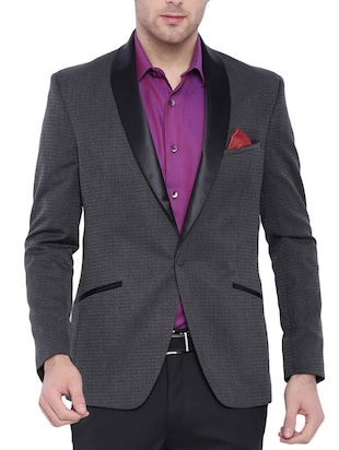 grey viscose casual blazer