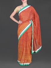 Gota Border Lehariya Print Orange Chiffon Saree - Lehar