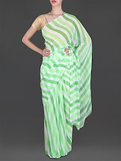 Lehariya Print Green & White Georgette Saree - Lehar