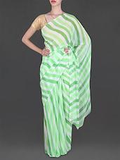 Lehariya Print Green & White Georgette Saree - Lehar