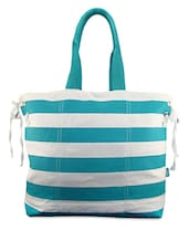 Blue Striped Canvas Shoulder Bag - ANGES BAGS