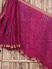 Pink Pure Silk Bandhej Saree - Maandna