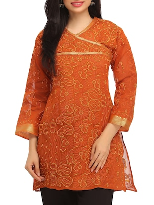 Orange Chikankari Embroidered Cotton Kurti