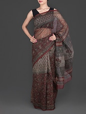 Grey Hand Block Printed Cotton Kota Saree - Maandna