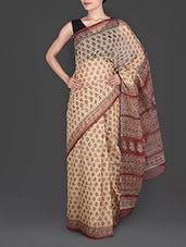 Beige Hand Block Printed Cotton Kota Saree - Maandna