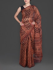 Brown Hand Block Printed Cotton Kota Saree - Maandna