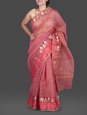Pink Jacquard  Poly Cotton Kota Saree - Maandna