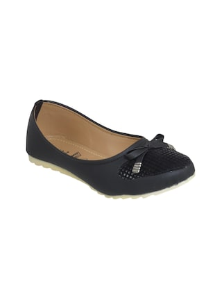 black fabric slip on ballerina