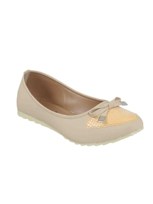 beige fabric slip on ballerina