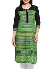 Green Printed Cotton  Straight Kurta - By