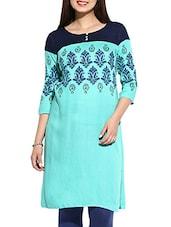 Turquoise Rayon Printed Kurta - By