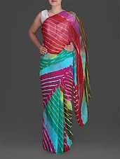 Leheriya Print Chiffon Saree - By