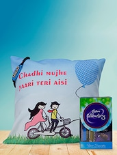 """"""" Chadhi ���. Aisi """" Printed Friendship Day Cushion With Chocolates & Friendship Band Combo - Amigos By Thinking Of You"""