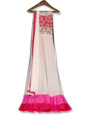 White Embroidered Georgette Anarkali Unstitched Dress Material - By