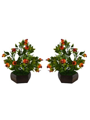 Thefancymart Artificial Bonzai fruit tree Strabery(size 10 inchs/ 25 cms) with Wood Hexagun pot ( set of 2 )-S20225-885