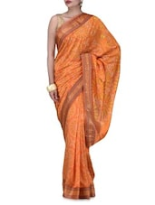 Orange Art Silk Saree Brocade Saree - By