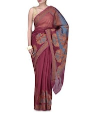 Red Art Silk Saree Brocade Saree - By