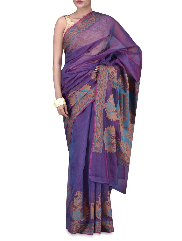 Purple Art Silk Saree Brocade Saree - By