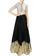 black art silk color block lehenga -  online shopping for lehengas